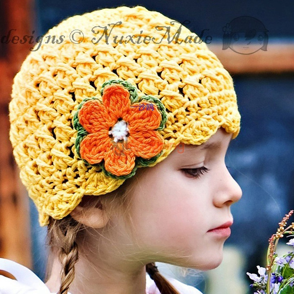 Hand-knitted hat yellow flowers hat